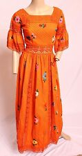 VTG 60's Embroidered Floral Crochet Boho Mexican Oaxacan Wedding Festival Dress