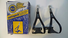 Vintage NOS Classic 80's Ale Black Silver alloy Toeclips Large 4 Colnago Bianchi