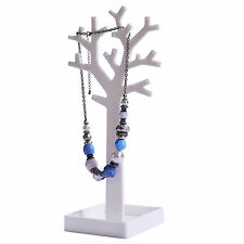 WHITE JEWELLERY NECKLACE CHAIN RING EARRING TREE STAND DISPLAY ORGANIZER HOLDER