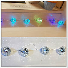 10 Changing Lights Mosaic Mirror Disco Balls Led Colours Battery 2.10m