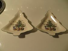 "2 Nikko ""Christmastime"" Christmas Tree Candy Dishes - Tree Shape"