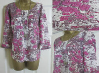 NEW EX WHITE STUFF LADIES BLOSSOM FLORAL SUMMER TOP BLOUSE TUNIC PINK SIZE 8-18