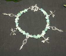 Goddess & Dragonfly Amazonite Gemstone Charm Bracelet - Pagan, Wicca, Witchcraft