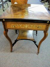 BRAZILIAN ROSEWOOD OCCASIONAL CARD TABLE WITH 4 ENVELOPE SHAPED LEAVES C 1860'S