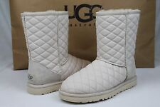 Ugg Australia Classic Short Quilted Leather Fresh Snow Sheepskin Boot Size 7 US