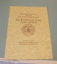 1976 Maryland State Commemoration of Ratification of the Treaty of Paris Program