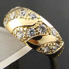 A515 GENUINE REAL 18CT YELLOW G/F GOLD DIAMOND SIMULATED CLASSIC DESIGN RING