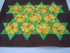 Sweet Yellow Peppers, Autumn Table Mat, Hexagons in a Brown setting