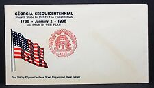 US Patriotic Cover Georgia Sesquicentennial Pilgrim Cachet Flag Brief (Lot-7038