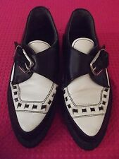 Vtg Tredair UK size 7 Womens Black & White Creeper Shoe Pointy Toe Crepe Soles.