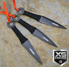 3pc Black Sharp Carbon Steel Naruto Ninja Kunai Throwing Knives w/ Sheath