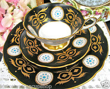 ROYAL STAFFORD TEA CUP AND SAUCER TRIO BLACK & GOLD RAISED POINTS PATTERN TEACUP