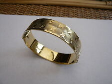 VINTAGE RETRO QUALITY OLD STERLING SILVER 22CT GOLD SOLID BAND BANGLE BRACELET