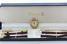 Ladies VicencE Italy Milor 14K 585 Yellow Gold Watch-3 Easy-Switch Leather Bands