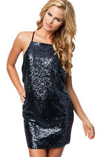 Steel Blue Sparkling Sequin Backless Sexy Stylish Crossover Straps Dress Size 10