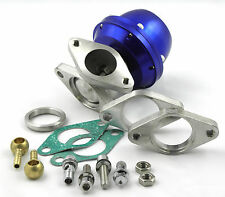 Blue Universal 2 Bolt 38mm External Wastegate Kit 0.4 Bar / 6 Psi Spring