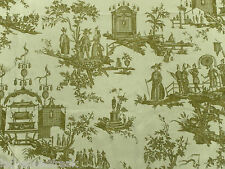 Zoffany Curtain Fabric L'ILE DES LANTERNES 120cm x 135cm Lime Linen Toile Design