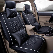 Size S Car Seat Cover Front & Rear 5-Seats PU Leather Auto W/Neck Lumbar Pillow