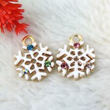 18PCS Vintage Gold Tone Alloy Crystal Snowflake Pendant Charms 15*12*2mm 39187