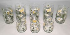 Butterfly & Daisies Vintage Mid-Century 8 Count Water Juice Glass 6, 12, & 16 Oz