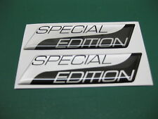 2 SPECIAL EDITION DOMED STICKERS Metallic Silver on Black v003 95mm x 25mm