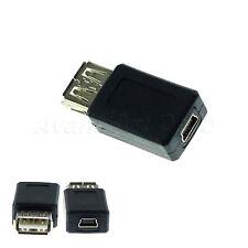 Black USB type A Female to Mini USB B 5 Pin F/F Converter Adapter