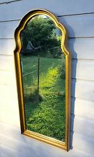 Elegant Hollywood Regency Gold Gilt Wooden Serpentine Wall Mirror 18x39 Vintage