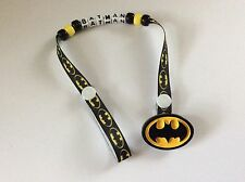 BATMAN Character Personalised Dummy Soother Pacifier Clip ~ Super Hero ~ NEW ~