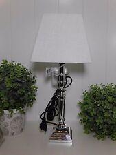 Tischlampe Tischleuchte Landhaus Eckig off white Silber Metall E 27 A++ 42,5 cm