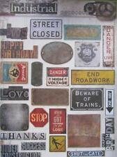 A4 Sheet of Card Toppers Vintage Industrial Old Signs Compliment other Toppers