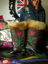 RARE CUSTOM Handmade Inlaid Fox Fur Leather Apres Ski Western Equestrian BOOTS