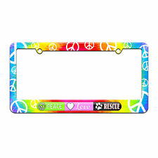 Peace Love Rescue - Pet Animal Love License Plate Frame Tie Dye Peace Signs