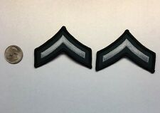 One Pair Corporal FTO Police Security Chevrons Stripes Patch Black/Silver/Green