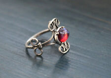 Dragons Breath Fire opal ring,Sterling Silver Filigree Setting 8x6mm, 4 Prong