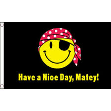 Have A Nice Day Matey Flag 5Ft X 3Ft Pirate Jolly Roger Festival Banner New