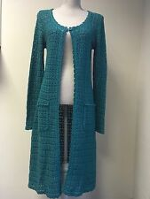 Together Women Cardigan Turquoise Cotton Knit Long Size 12 (21)