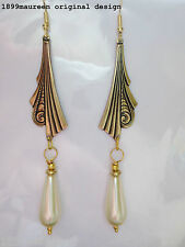 Art Deco earrings Art Nouveau vintage style pearl drop 1920s 1930 statement LONG