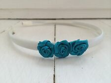Ivory Satin Headband Hairband Alice Band Teal Flowers Bridesmaid Flower Girl