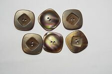 10pc 15mm Brown Faux Wood Effect Square Cardigan Kid Baby Button Bead 2972