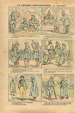 Caricature Guerre Soldats Poilus Trou Mine Impôts Huissier WWI 1916 ILLUSTRATION
