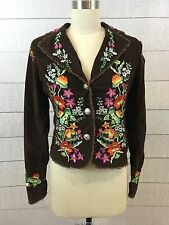 Miss Me Designer Floral Embroidered Brown Corduroy Jacket Fitted Medium