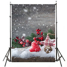 5X7FT Xmas Snow Wood Board Photography Backdrop Background Photo Studio Props