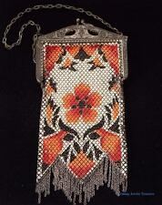 Vintage 1920s Era Mandalian Silver Mesh Purse Ornate Multi Color with Fringe