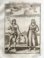 MADAGASCAR, MALE & FEMALE NATIVES, Allain Mallet 1719 Antique Print