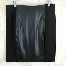 Lauren Ralph Lauren Black Stretch Womens Sz 8 Medium Faux Leather Pencil Skirt X