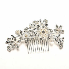 Crystal Rhinestone Wedding Flower Pearls Hair Clip Hair Comb For Women Bride JS