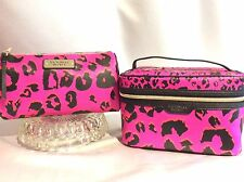 Victorias Secret Supermodel LEOPARD Train Case Cosmetic Makeup Bag Set X2 NWT