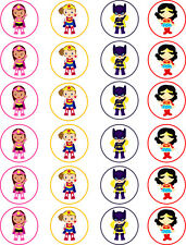 Girl Super Hero Superhero Cupcake / Edible Cupcake Fairy Cake Wafer Toppers x 24