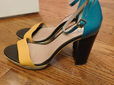 VINCE CAMUTO VENIZE Leather Color Block Sandals 8 Brown Turquoise Yellow Heels