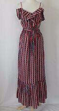 Gap Maxi Dress Ruffle Belt Tie Empire Waist Spaghetti Strap Multi-color Size M/L